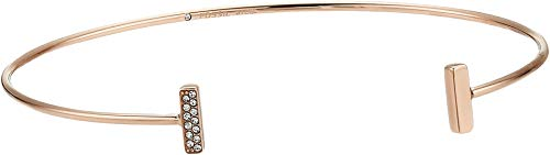 (Fossil Women's Rose Gold-Tone Stainless Steel Glitz Cuff, One Size)