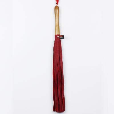 Spank Wood Handled Red Leather Flogger (Red) by Spank Provocateur