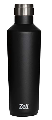 Zell Stainless Steel Vacuum Insulated Water Bottle | Keeps Cold 24 Hours, Hot 12 Hours | Leak-Proof Double Walled Wine Shape Powder Coated Thermos | 25 Oz (750 ml) | Black