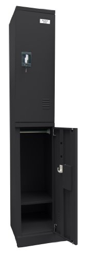 Sandusky Lee KDCL7212/2-09 Black Powder Coat Steel SnapIt 2-Tier Locker, 72
