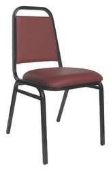 - KFI 5VXY8 Stack Chair, Burgundy Vinyl
