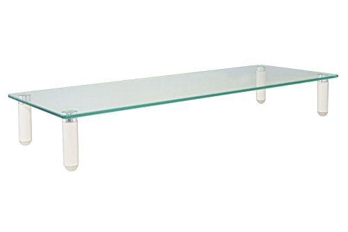 "Kantek Glass Monitor Riser, 3.25"" X 8.25"" X 22"", 5mm Tempered Glass Platform, 40 lb. Capacity, Clear Glass (MS370)"