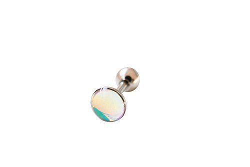 CZ Fahsion Body Jewelry Stainless Steel 16g 16Gauge Cartilage Daith Tragus Indutrial Barbell Bohemian Sparkly Brilliant Edges Round Circle Symbol Rounded Ball Moon Opal Ear Studs Piercing Earring-BN