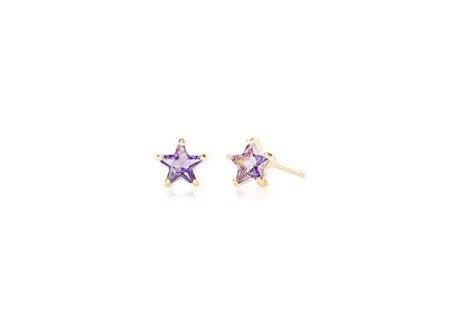 Hypoallergenic Surgical Steel Rhodium Plated Birthstone Star Earrings With Cubic Zirconia Stones (Gold Plated February)