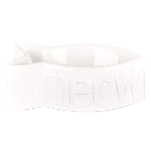 Creature Comforts Meow Fish Shaped Dish - White - 8 x 4 x 3 inch (Meow Cat Bowl)