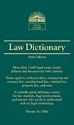 Barron's Law Dictionary: Mass Market Edition (Barron's Legal Guides) 6th (sixth) Edition by Gifis, Steven H. [2010]