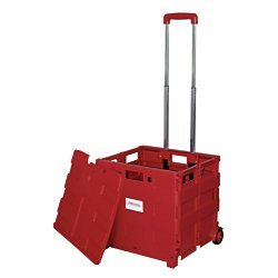 Office Depot Mobile Folding Cart with Lid, 16in. x 18in. x 15in, Red, -