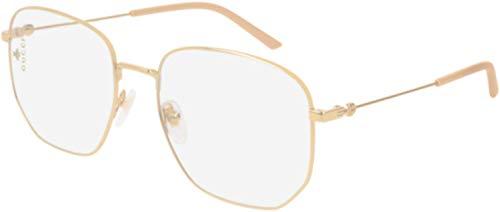 Gucci GG 0396S 001 Gold Metal Square Sunglasses Transparent Lens (Gucci Aviator-brillen)