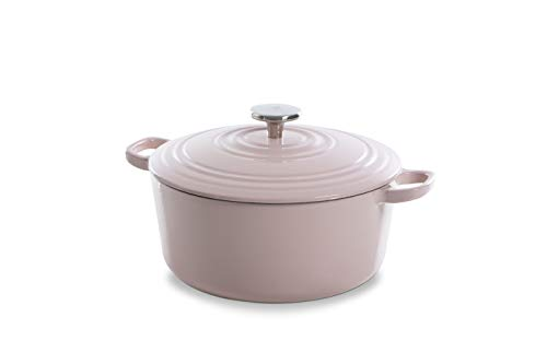 BK Cookware H6078.528 BK Bourgogne Dutch 28cm/6.7L, hierro fundido, revestimiento esmaltado, tapa con anillos de goteo, inducción/horno/lavaplatos, color rosa