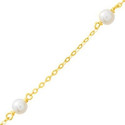 So Chic Bijoux © Collier Femme Chaîne Maille Forçat 42 cm Perles Eau Douce Crème Ivoire Or Jaune 750/000 (18 carats)