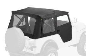 Bestop 51597-01 Black Crush Supertop Classic Replacement Soft Top with Clear Windows; 2-pc. Full Doors for 1976-1983 Jeep CJ-5