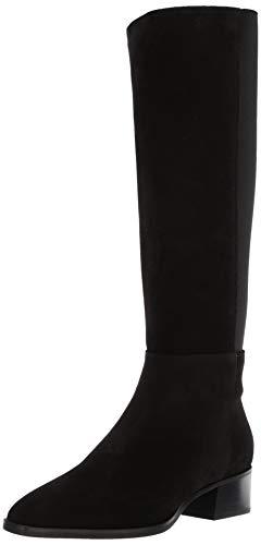 Aquatalia Women's Finola Suede/Elastic Fashion Boot, Black, 6.5 M US