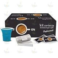 Aura Caffè - 450 Bustine di Zucchero - 450 Palette - 450 Bicchierini Colorati - Kit Accessori caffè (Tipo Borbone)