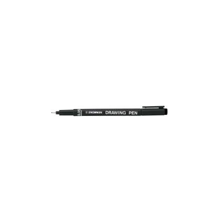 - Snowman Premium Fineliner Drawing Pen with Water-Based Pigment Ink for School Art Drawing Sketching and Writing (Black - 12-Pack) - 0.05