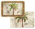 West Indian Palm Trees Reversible Washable Vinyl Placemats Set of Four