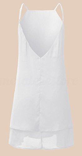 Spaghetti Dresses Mini Chiffon Strap Short Cami Jaycargogo Beach Summer Women White Sexy Dress Flowy Sundress EOPP4qvw