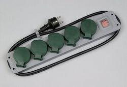 REV Ritter 00125053 Steckdosenleister 5-fach IP44 mit Schalter 1.5 m, grün-grau
