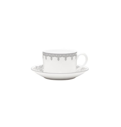 Waterford Platinum Espresso Cups - Lismore Lace Platinum Teacup and Saucer Set