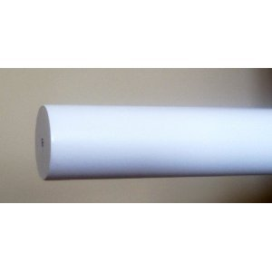 1-3/8 inch Wood Smooth Drapery Rod in White Finish - 6' (Smooth Wood Pole)