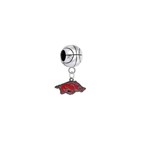 Arkansas Razorbacks Basketball 3D Universal European Bracelet Charm ()
