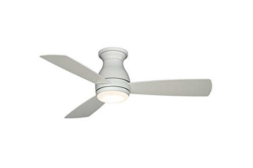 Fanimation Hugh - 44 inch - Matte White with Matte White Blades with LED Light Kit and Wall Control - Wet Rated - 220V - FPS8332MWW-220