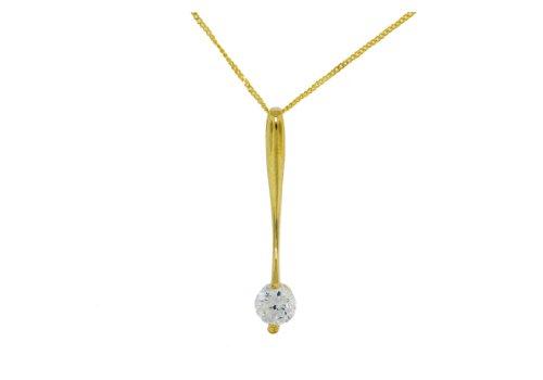 Carissima Gold - Collier avec pendentif - Femme - Or jaune (9 cts) 1.85 Gr - Oxyde de zirconium