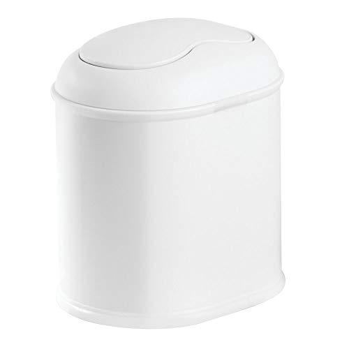 (mDesign Modern Plastic Mini Wastebasket Trash Can Dispenser with Swing Lid for Bathroom Vanity Countertop or Tabletop - Dispose of Cotton Rounds, Makeup Sponges, Tissues - White)