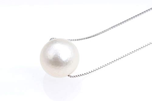 (Win Pearl Huge 12-13 mm White South Sea Cultured Pearl Solitaire Necklace silver alloy chain - nk278)