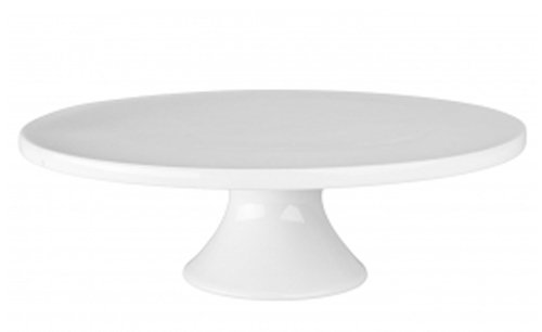 BIA Cordon Bleu Small Round Porcelain Cake Stand 8-1/2-Inch by 3-3/4-Inch, White