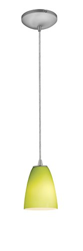 Brushed Steel / Light Green Sydney 1 Light Mini Pendant