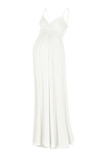 Beachcoco Women's Maternity Sweetheart Party Maxi Dress (S, Off White)