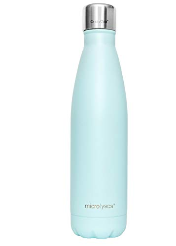 (Microlyscs CrazyCap Water Bottle with Purifier | Portable UVC Light Purification System for Cola-Style, S'Well Bottles - Ideal for Travel, Tap Water, Public Fountains - 17 oz. (Cyan))