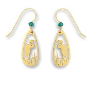 Sienna Sky Polished Goldplated Heron Teardrop Earrings 1609