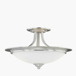 "Vaxcel C0032 Lorimer Semi-Flush Mount (Dual Mount), 15"", Satin Nickel Finish"
