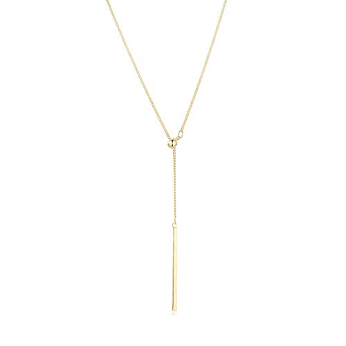 SEUSUK Y Drop Necklace for Women Gold Dainty Chain 14K Gold Fill Bar Pendant Simple Delicate Handmade Boho Beach Jewelry Gift