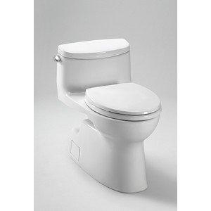 Carolina II High Efficiency 1.28 GPF Elongated 1 Piece Toilet with Sanagloss Toilet Finish: Colonial White (Piece Elongated Sanagloss Toilet Two)