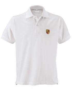 Genuine Porsche Crest Men's Polo Shirt - White - U.S. Size Extra Large