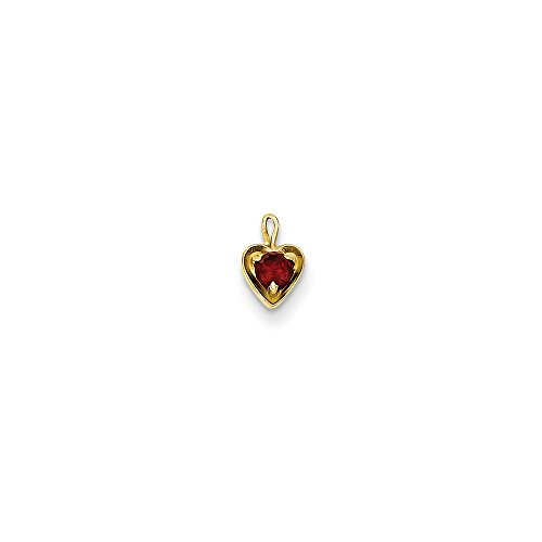 Qg 14k Charm Bracelet (14K Yellow Gold January Birthstone Heart Charm 7x4mm)