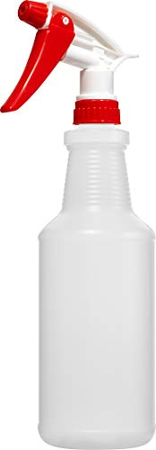 - Empty Plastic Spray Bottle 32 Ounce, Professional Chemical Resistant with Red-White Sprayer for Chemical and Cleaning Solution, Heavy Duty, Adjustable Head Sprayer from Fine to Stream