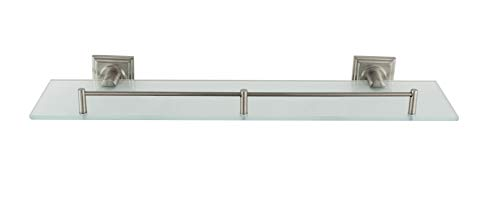 "MODONA 20.5"" Frosted Glass Square Shelf with Pre-Installed Rail - Satin Nickel - Square Series - 5 Year Warranty"