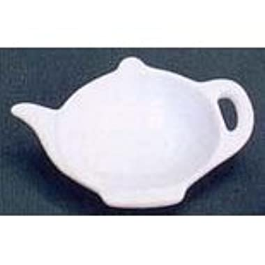White Porcelain Teapot Shaped Tea Bag Holder Caddy - 3 1/2 x 4 3/4 0