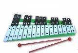 Green 27 Key Chromatic Glockenspiel Xylophone - Notes Engraved into Metal Keys
