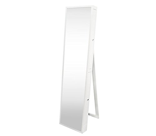 Full-Length Mirror with Jewelry Slide Outs - White Extra-...