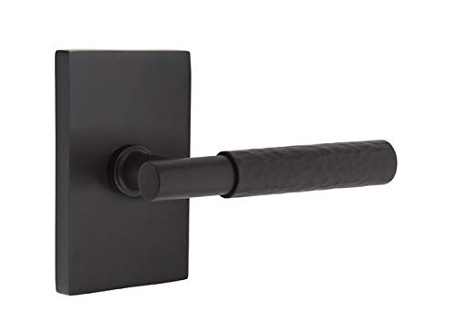 Emtek Select Privacy, Modern Rectangular Rosette, T-Bar Stem, Hammered Lever, Flat Black, LH ()