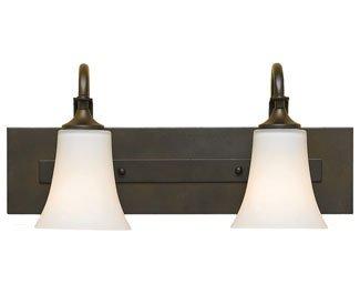 Feiss VS12702-ORB Barrington Glass Wall Vanity Bath Lighting, Bronze, 2-Light (18''W x 9''H) 200watts