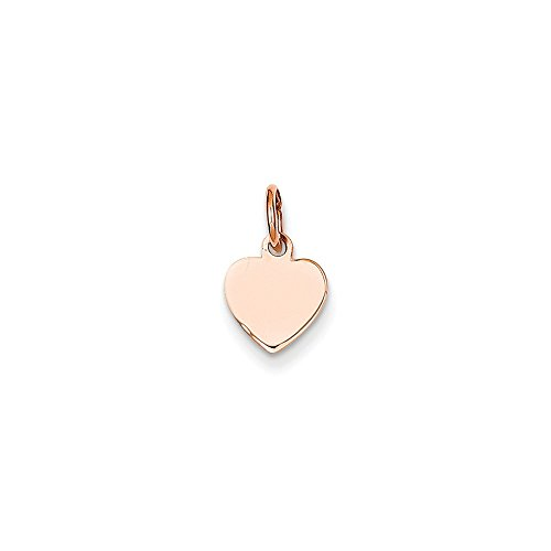 14k Rose Gold Heart Disc Charm Pendant Heart Disc 14k Gold Charm