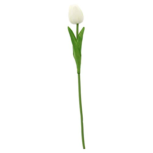 Artificial & Dried Flowers - 10 Pcs White Tulip Flower Latex Real Touch Kc456 - Green Small Yellow Dahlia Lillies Vines Stems Multicolor Eucalyptus Kissing Latex Hibiscus Gladiola Arrangements M