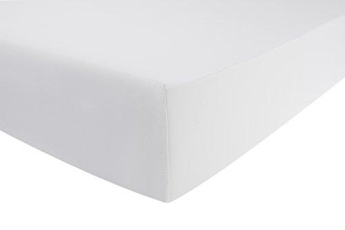 ENTSPANNO Jersey-Luxus-Spannbettlaken für Wasser- und Boxspringbett | viele Farben | in Weiß aus gekämmter Baumwolle. Spannbetttuch mit Einlaufschutz, 180 x 200 - 200 x 220 cm, bis 40 cm hoher Steg