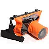 Tteoobl 65 Feets Waterproof Case SLR/DSLR Camera Waterproof Underwater Bag Pouch Dry Bag For Canon Nikon Fuji Pentax Samsung SONY(Orange,M)