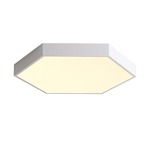 Hexagon Flush - VinDeng Ultra-Thin Geometry LED Ceiling Light Flush Mount, 24W Modern 16 inch Hexagon Ceiling lamp Creative Metal Acrylic Light Fixture for Bedroom Kitchen Island-White Warm White
